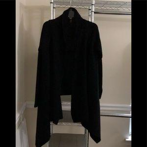 INC Black Ribbed Shawl Front Cardigan L/XL